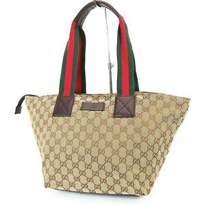 Authentic GUCCI Brown GG Canvas and Braown Leather Tote Hand Bag Purse #38081
