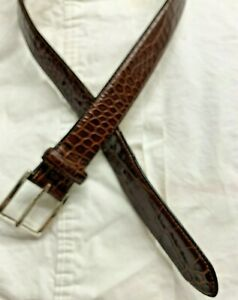 Polo Ralph Lauren Brown Croc Leather Belt Silver Tone Buckle Sz 32