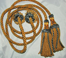 TASSELS Teal/Gold Twisted Cord Tassels Vintage Drapery Set of 2
