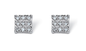 1/7 TCW Diamond Square-Shaped Stud Earrings In Platinum Over Sterling Silver