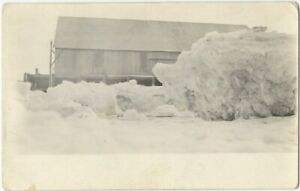 Ice House or Wharf on Snowy Lake Vintage Real Photo Postcard Winter Architecture