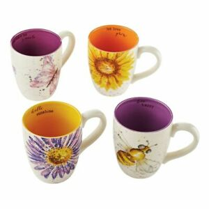 Department 56 Let It Bee Summer Floral Inspirational Mugs 4050874 Set of 4