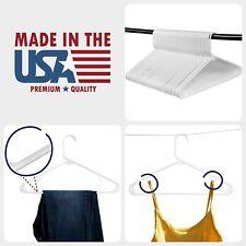 "Plastic Clothes Hangers - White Standard Tubular Durable Slim Hanger Lot - 16"""