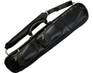 Lucasi LC3 4x8 4B8S Black Leatherette Soft Pool Cue Case with Large Pockets