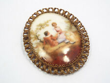 """Vintage Courting Couple Painted Large Brooch, 2 7/8"""" x 2 1/2"""""""