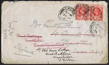 1926 Nigeria 1d Red x 2 Lagos London Redirected x 2 East Grinstead then Devon