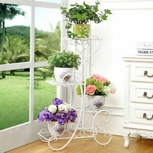 Blumenständer Blumenregal 4 Etagen Metall Pflanzentreppe drinnen/draußen Garten