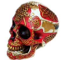 "Celtic Lion Skull Bank Hand Painted Red Tattoo Skull 7""H Money Saving Bank"