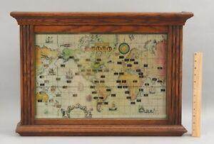 Vintage Working 1959 Howard Miller World Map & Time Zone Oak Wall Clock