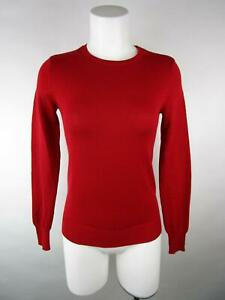 Ann Taylor Women Solid Red Long Sleeve Merino Wool Crewneck Pullover Sweater XS