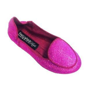 Footzyrolls Footzyfolds Girl Toddlers Fuschia Sparkles Ballet Slippers 8919808T