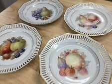 Schumann Bavaria Reticulated Fruit Plates Germany Set Of 4