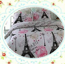 Pink Paris ~Eiffel Tower~ Queen Size Quilt Cover Set New