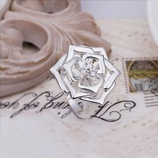 New 925 Sterling Silver Filled Large Rose Flower Ring Size 8 Fashion Jewellery