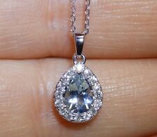 "18Ct 0.5Ct Aquamarine 0.18Ct Diamond Pear Cluster Pendant 16"" White Gold Chain"