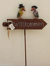 Welcome Schild Vögel mit Hut Exner, Gartendeko Deko shabby Windrad 51822