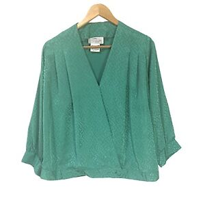 Vintage 80s Lorraine Chase Collection Size 12 Womens Crossover Front Top Green
