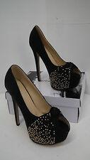 BNIB Black Suedette Studded Peep Toe High Heels from Mannika size 4