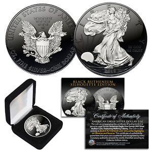 Black RUTHENIUM SILHOUETTE 1 oz .999 Fine Silver 2021 American US Eagle with Box