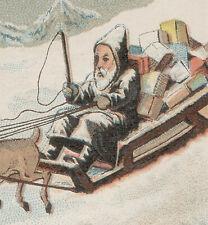 FATHER CHRISTMAS,(SANTA) SLEIGH, TOYS & 4 REINDEER, UNUSED OLD TRADE CARD   K482