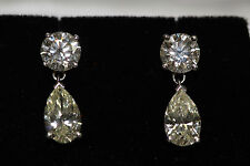 DIAMOND  EARINGS GORGEOUS IN PLATINUM ROUNDS,PEARSHAPE CTS 5.83
