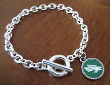 University North Texas Mean Green UNT SILVER TOGGLE BRACELET charm fan jewelry