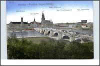 DRESDEN um 1925 Friedrich-August Brücke Bridge Le Pont AK Kunstverlag Carl Döge