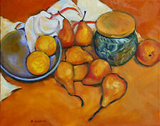 Original Painting Oil on Canvas panel Salt Cellar and Pears Still Life