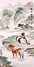 Horse lover-ORIENTAL ASIAN FINE ART CHINESE FAMOUS ANIMAL WATERCOLOR PAINTING