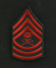 MASTER SERGEANT DEATH SKULL RED ARM RANK INSIGNIA BIKER MORALE MILITARY PATCH