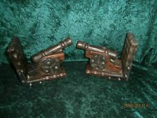 "PAIR VINTAGE / RETRO HAND CARVED WOODEN CANNON BOOK ENDS. 8.5 L X 6.5 H X 5.5"" D"