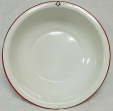 Vintage White Porcelain Enamel Wash Basin Pan Red Trim