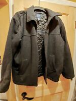 Gap Mens *Sz L* Jacket Coat Charcoal Gray Wool Blend Full Zip Lined EUC