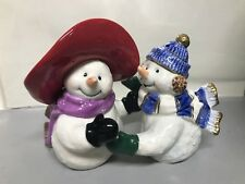 Vintage Mr and Mrs Frosty Snowman Salt Pepper Shakers Christmas Lg Floppy Hat