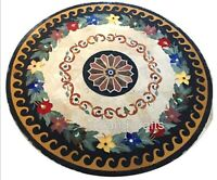 36 Inches Marble Dining Table Top with Colorful Flowers Art Patio Coffee Table