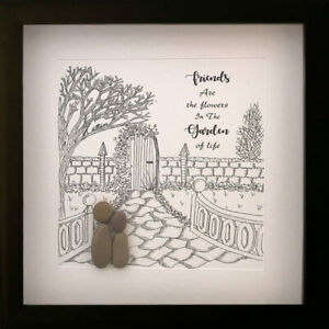 Pebble Art Picture Friends Are The Flowers In The Garden Of Life Friendship Gift