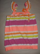 Gymboree BRIGHT AND BEACHY Striped Tank Top Hot Coral Orange Pink Yellow NWT 6