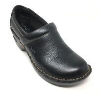 Women's Born Concept Peggy Booties Clogs Shoes Size 7.5M Black Grain Leather U8