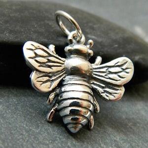 Sterling Silver Large Bumblebee Pendant Necklace Honeybee Queen Bee Charm 1162