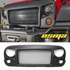 Black Aggressive Spartan Front Grille With Mesh For 2007-2017 Jeep Wrangler JK