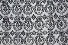 DAMASK TAFFETA VELVET FLOCKED WHITE DRESS HOME DECOR APPAREL CURTAINS 70 YARDS