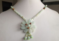 100% Natural A JADE Jadeite Bead Flower Necklace *20 inches  08