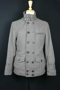 Kane & Unke Men's Herringbone Wool Blend Zip Up Button Closures Coat Jacket M
