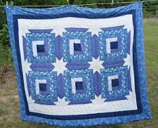 "Blue hand-quilted throw quilt blues 50x58"" Cutter"