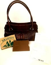 Brahmin Shoulder Bag Purse Macy-Toasted Almond Footed Bottom Zippered Top
