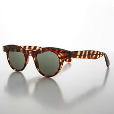 Small Round Horn Rim Preppy Vintage Sunglass Golden Brown/Green - Sydney