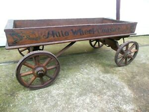 Vintage Antique Auto Wheel Coaster Childs Toy Wood Primitive Wagon Spoked Wheels