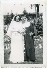 Vintage 1950s Photo Young Catholic NUN Stands Beside Bride Wedding