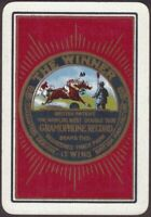 Playing Cards Single Card Old Wide GRAMOPHONE RECORD Advertising Art HORSE RACE