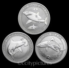 All (3) 1/2 oz Silver Australian Shark Coins from Mint Rolls 2014 2015 & 2016 #7